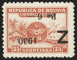 Sale Number 1143, Lot Number 3662, Belgian Congo thru BoliviaBOLIVIA, 1930, 1.50b on 15c to 6b on 35c Air Post, Inverted Surcharge (C24a-C26a), BOLIVIA, 1930, 1.50b on 15c to 6b on 35c Air Post, Inverted Surcharge (C24a-C26a)