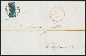Sale Number 1143, Lot Number 3672, Brazil thru ChileCHILE, 1853, 10c Deep Bright Blue, Vertical Half Used as 5c (2d), CHILE, 1853, 10c Deep Bright Blue, Vertical Half Used as 5c (2d)