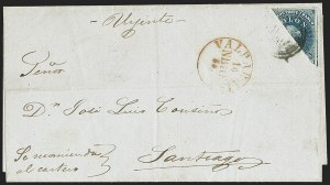 Sale Number 1143, Lot Number 3673, Brazil thru ChileCHILE, 1854, 10c Deep Blue, Diagonal Half Used as 5c (5d), CHILE, 1854, 10c Deep Blue, Diagonal Half Used as 5c (5d)