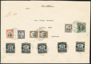 Sale Number 1143, Lot Number 3674, Brazil thru ChileCHILE, 1927, 40c on 10c - 2p on 10c, Air Post Surcharge (C1-5), CHILE, 1927, 40c on 10c - 2p on 10c, Air Post Surcharge (C1-5)