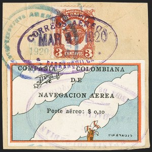 "Sale Number 1143, Lot Number 3702, Colombia thru DenmarkCOLOMBIA, 1920, 10c ""SCADTA"", Clouds and Small Biplane at Top (C3), COLOMBIA, 1920, 10c ""SCADTA"", Clouds and Small Biplane at Top (C3)"