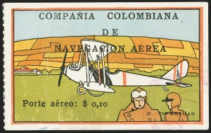 "Sale Number 1143, Lot Number 3703, Colombia thru DenmarkCOLOMBIA, 1920, 10c ""SCADTA"", Multicolor View (C9), COLOMBIA, 1920, 10c ""SCADTA"", Multicolor View (C9)"