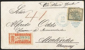 Sale Number 1143, Lot Number 3704, Colombia thru DenmarkCOLOMBIA, 1889-95, 10c Red on Yellowish, Registration (F10), COLOMBIA, 1889-95, 10c Red on Yellowish, Registration (F10)