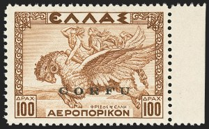 Sale Number 1143, Lot Number 3705, Colombia thru DenmarkCORFU, 1941, 100d Brown, Air Post (NC11; Sassone 12), CORFU, 1941, 100d Brown, Air Post (NC11; Sassone 12)