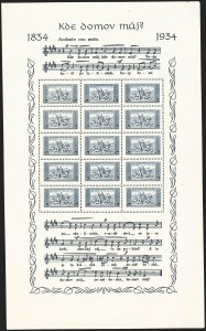 Sale Number 1143, Lot Number 3708, Colombia thru DenmarkCZECHOSLOVAKIA, 1934, 1k and 2k, National Anthem Souvenir Sheets (200a-201a; Michel 330x-331x), CZECHOSLOVAKIA, 1934, 1k and 2k, National Anthem Souvenir Sheets (200a-201a; Michel 330x-331x)