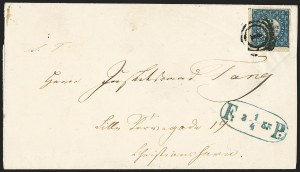 Sale Number 1143, Lot Number 3710, Colombia thru DenmarkDENMARK, 1851, 2rs Blue, Thiele Printing (1; Facit 1II), DENMARK, 1851, 2rs Blue, Thiele Printing (1; Facit 1II)