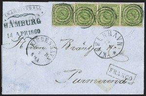 Sale Number 1143, Lot Number 3711, Colombia thru DenmarkDENMARK, 1858, 8s Green (8; Facit 5), DENMARK, 1858, 8s Green (8; Facit 5)