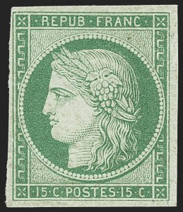 Sale Number 1143, Lot Number 3723, France incl. OfficesFRANCE, 1849, 15c Green on Greenish (2), FRANCE, 1849, 15c Green on Greenish (2)