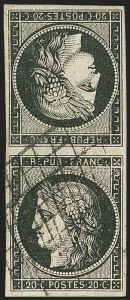 Sale Number 1143, Lot Number 3724, France incl. OfficesFRANCE, 1849-50, 20c Black on Buff, Tête-Bêche Pair (3c; Yvert 3e), FRANCE, 1849-50, 20c Black on Buff, Tête-Bêche Pair (3c; Yvert 3e)