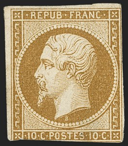 Sale Number 1143, Lot Number 3726, France incl. OfficesFRANCE, 1852, 10c Pale Bister on Yellowish (10; Yvert 9), FRANCE, 1852, 10c Pale Bister on Yellowish (10; Yvert 9)