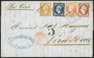 Sale Number 1143, Lot Number 3727, France incl. OfficesFRANCE, 1853, 10c Bister, 20c Blue, 40c Orange, 80c Lake (14, 15, 18, 19; Yvert 13A, 14A, 16, 17B), FRANCE, 1853, 10c Bister, 20c Blue, 40c Orange, 80c Lake (14, 15, 18, 19; Yvert 13A, 14A, 16, 17B)