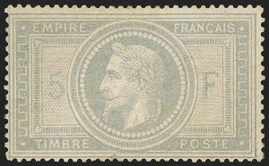Sale Number 1143, Lot Number 3728, France incl. OfficesFRANCE, 1869, 5fr Gray Lilac on Lavender (37; Yvert 33), FRANCE, 1869, 5fr Gray Lilac on Lavender (37; Yvert 33)
