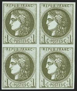Sale Number 1143, Lot Number 3729, France incl. OfficesFRANCE, 1870, 1c Olive Green on Pale Blue, Report III (38; Yvert 39C), FRANCE, 1870, 1c Olive Green on Pale Blue, Report III (38; Yvert 39C)