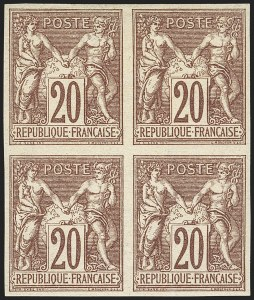 Sale Number 1143, Lot Number 3733, France incl. OfficesFRANCE, 1876, 20c Red Brown on Straw, Imperforate (70a; Yvert 67a), FRANCE, 1876, 20c Red Brown on Straw, Imperforate (70a; Yvert 67a)