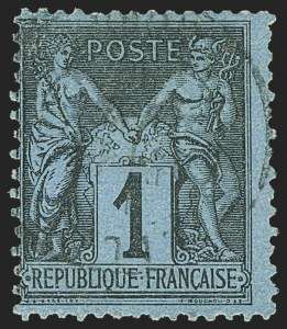 Sale Number 1143, Lot Number 3734, France incl. OfficesFRANCE, 1880, 1c Black on Prussian Blue, Ty. II (87; Yvert 84), FRANCE, 1880, 1c Black on Prussian Blue, Ty. II (87; Yvert 84)