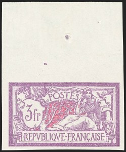 Sale Number 1143, Lot Number 3737, France incl. OfficesFRANCE, 1927, 3fr Bright Violet & Rose, Imperforate (129a, Yvert 240a), FRANCE, 1927, 3fr Bright Violet & Rose, Imperforate (129a, Yvert 240a)