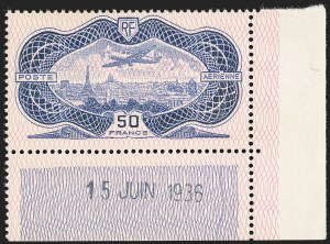 Sale Number 1143, Lot Number 3745, France incl. OfficesFRANCE, 1936, 50fr Air Post (C15; Yvert PA15), FRANCE, 1936, 50fr Air Post (C15; Yvert PA15)