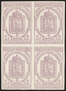 Sale Number 1143, Lot Number 3746, France incl. OfficesFRANCE, 1868, 2c Lilac, Imperforate, Newspaper Stamp (P1; Yvert J1), FRANCE, 1868, 2c Lilac, Imperforate, Newspaper Stamp (P1; Yvert J1)