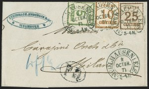 Sale Number 1143, Lot Number 3747, France incl. OfficesFRANCE, Alsace & Lorraine, 1870, 5c Yellow Green, 10c Bistre Brown, 25c Brown (N4-N5, N7; Yvert 4-5, 7), FRANCE, Alsace & Lorraine, 1870, 5c Yellow Green, 10c Bistre Brown, 25c Brown (N4-N5, N7; Yvert 4-5, 7)