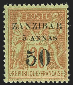 Sale Number 1143, Lot Number 3750, France incl. OfficesFRANCE, OFFICES IN ZANZIBAR, 1894, 5a & 50c on 20c Red on Green, Ty. III Overprint (15 var; Yvert 15b), FRANCE, OFFICES IN ZANZIBAR, 1894, 5a & 50c on 20c Red on Green, Ty. III Overprint (15 var; Yvert 15b)