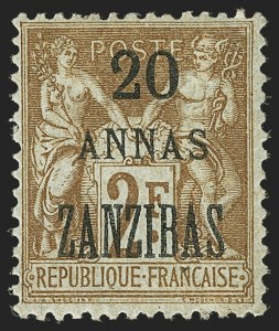 "Sale Number 1143, Lot Number 3751, France incl. OfficesFRANCE, OFFICES IN ZANZIBAR, 1896-1900, 20a on 2fr Brown on Azure, ""ZANZIBAS"" Overprint (27a; Yvert 30b), FRANCE, OFFICES IN ZANZIBAR, 1896-1900, 20a on 2fr Brown on Azure, ""ZANZIBAS"" Overprint (27a; Yvert 30b)"