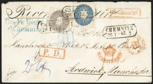 Sale Number 1143, Lot Number 3764, German StatesGERMAN STATES, Saxony, 1863, 2ng Blue, 5ng Dull Violet (18, 20; Michel 17a, 19b), GERMAN STATES, Saxony, 1863, 2ng Blue, 5ng Dull Violet (18, 20; Michel 17a, 19b)