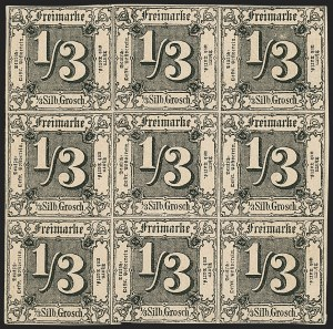 Sale Number 1143, Lot Number 3765, German StatesGERMAN STATES, Thurn and Taxis, 1858, -1/3sgr Black on Buff (2; Michel 2), GERMAN STATES, Thurn and Taxis, 1858, -1/3sgr Black on Buff (2; Michel 2)