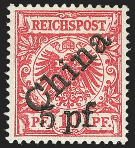 Sale Number 1143, Lot Number 3774, Germany thru GuatemalaGERMAN OFFICES IN CHINA, 1900, 5pf on 10pf Carmine, 45 Degree Overprint (16a; Michel 7IB), GERMAN OFFICES IN CHINA, 1900, 5pf on 10pf Carmine, 45 Degree Overprint (16a; Michel 7IB)