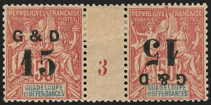 Sale Number 1143, Lot Number 3779, Germany thru GuatemalaGUADELOUPE, 1903, 15c on 50c Carmine on Rose, Tete-Beche Surcharges (47d; Yvert 47k), GUADELOUPE, 1903, 15c on 50c Carmine on Rose, Tete-Beche Surcharges (47d; Yvert 47k)