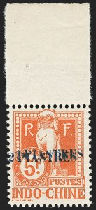 Sale Number 1143, Lot Number 3789, Haiti thru IranINDO-CHINA, 1919, 2pi on 5fr Red, Postage Due, Double Surcharge (J30a; Yvert TT30a), INDO-CHINA, 1919, 2pi on 5fr Red, Postage Due, Double Surcharge (J30a; Yvert TT30a)