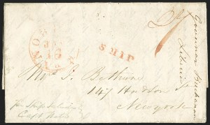 Sale Number 1143, Lot Number 3824, Kiauchau thru LiberiaLIBERIA, 1839 Folded Letter to New York, LIBERIA, 1839 Folded Letter to New York
