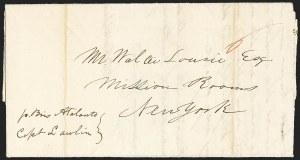 Sale Number 1143, Lot Number 3825, Kiauchau thru LiberiaLIBERIA, 1841 Folded Letter to New York, LIBERIA, 1841 Folded Letter to New York
