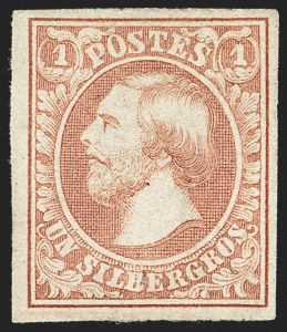 Sale Number 1143, Lot Number 3846, Lithuania thru LuxembourgLUXEMBOURG, 1852-59, 1sg Red Brown (2; Michel 2c; Prifix 2), LUXEMBOURG, 1852-59, 1sg Red Brown (2; Michel 2c; Prifix 2)