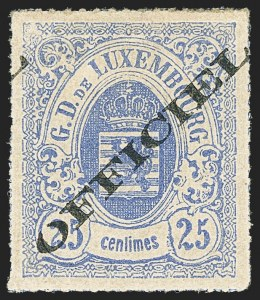 Sale Number 1143, Lot Number 3851, Lithuania thru LuxembourgLUXEMBOURG, 1875, 25c Ultramarine, Official (O7; Michel 6Ib), LUXEMBOURG, 1875, 25c Ultramarine, Official (O7; Michel 6Ib)