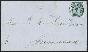 Sale Number 1143, Lot Number 3870, Nicaragua thru PolandNORWAY, 1855, 4s Blue (1; Facit 1), NORWAY, 1855, 4s Blue (1; Facit 1)