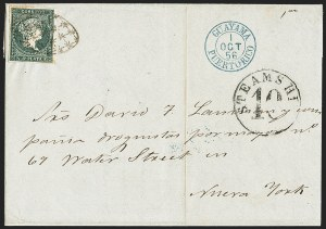 Sale Number 1143, Lot Number 3881, Puerto Rico thru SalvadorPUERTO RICO, Spanish Colonies (Cuba), 1855, -1/2p Blue Green (1), PUERTO RICO, Spanish Colonies (Cuba), 1855, -1/2p Blue Green (1)