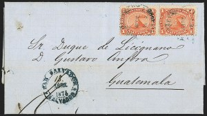 Sale Number 1143, Lot Number 3888, Puerto Rico thru SalvadorSALVADOR, 1867, 1r Red (2), SALVADOR, 1867, 1r Red (2)