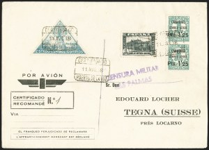 Sale Number 1143, Lot Number 3901, Samoa thru SpainSPAIN, Canary Islands, 1937, 1.25p on 1c Blue Green, Vertical Pair, Imperforate Between (9LC26 var), SPAIN, Canary Islands, 1937, 1.25p on 1c Blue Green, Vertical Pair, Imperforate Between (9LC26 var)