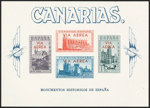 Sale Number 1143, Lot Number 3902, Samoa thru SpainSPAIN, Canary Islands, 1938, 20c-1p Cathedral Souvenir Sheet, Red Overprint (Edifil 63), SPAIN, Canary Islands, 1938, 20c-1p Cathedral Souvenir Sheet, Red Overprint (Edifil 63)