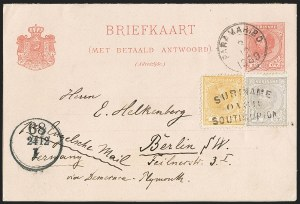 Sale Number 1143, Lot Number 3904, Surinam thru SwitzerlandSURINAM, 1873-89, 1c Lilac Gray, 2c Yellow, 2-1/2c Rose (1-3), SURINAM, 1873-89, 1c Lilac Gray, 2c Yellow, 2-1/2c Rose (1-3)