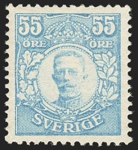 Sale Number 1143, Lot Number 3906, Surinam thru SwitzerlandSWEDEN, 1892, 55o Pale Blue (90; Facit 92), SWEDEN, 1892, 55o Pale Blue (90; Facit 92)