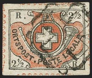 Sale Number 1143, Lot Number 3910, Surinam thru SwitzerlandSWITZERLAND, ZURICH, 1850, 2-1/2r Black and Red, Winterthur (1L5; Zumstein 12), SWITZERLAND, ZURICH, 1850, 2-1/2r Black and Red, Winterthur (1L5; Zumstein 12)