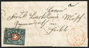 Sale Number 1143, Lot Number 3912, Surinam thru SwitzerlandSWITZERLAND, 1850, 5r Greenish Blue, Black & Red, Rayon I, Without Frame Around Cross (7c; Zumstein 15IIf), SWITZERLAND, 1850, 5r Greenish Blue, Black & Red, Rayon I, Without Frame Around Cross (7c; Zumstein 15IIf)
