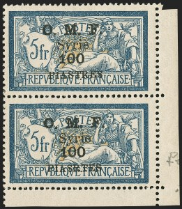 "Sale Number 1143, Lot Number 3914, Syria thru TurkeySYRIA, 1920-22, 100p on 5fr Dark Blue & Buff, Black Overprint, ""Piasrtes"" Overprint Error (53a; Yvert 43a), SYRIA, 1920-22, 100p on 5fr Dark Blue & Buff, Black Overprint, ""Piasrtes"" Overprint Error (53a; Yvert 43a)"