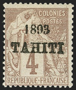 Sale Number 1143, Lot Number 3915, Syria thru TurkeyTAHITI, 1893, 4c Claret on Lavender (19; Yvert 21), TAHITI, 1893, 4c Claret on Lavender (19; Yvert 21)