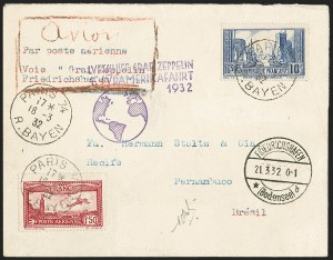 Sale Number 1143, Lot Number 3934, Flight Covers1932, March 21-29, 1st South America Flight, France to Pernambuco, Brazil (Sieger 138), 1932, March 21-29, 1st South America Flight, France to Pernambuco, Brazil (Sieger 138)