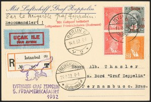 Sale Number 1143, Lot Number 3935, Flight Covers1932, August 29-September 7, Turkey to Brazil Zeppelin Cover (Sieger 171), 1932, August 29-September 7, Turkey to Brazil Zeppelin Cover (Sieger 171)