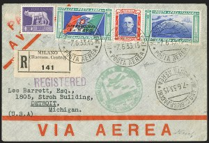 Sale Number 1143, Lot Number 3937, Flight CoversITALY, 1933 Balbo Flight, Milan to United States, ITALY, 1933 Balbo Flight, Milan to United States