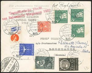 Sale Number 1143, Lot Number 3938, Flight Covers1933, June 27, Netherlands to Iceland, Balbo Flight, 1933, June 27, Netherlands to Iceland, Balbo Flight