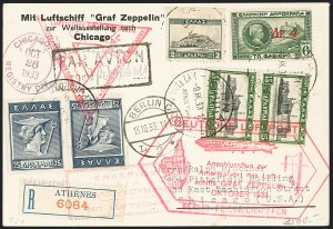 Sale Number 1143, Lot Number 3944, Flight Covers1933, October 14-November 2, Century of Progress Flight, Greece to Chicago Zeppelin Cover (Sieger 238E), 1933, October 14-November 2, Century of Progress Flight, Greece to Chicago Zeppelin Cover (Sieger 238E)